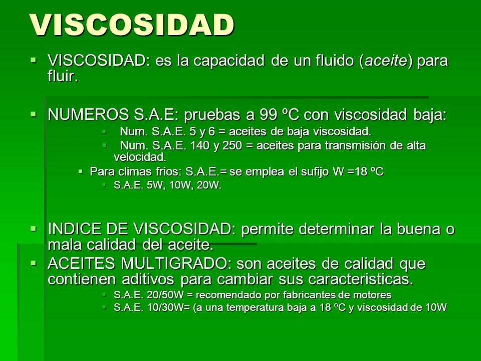 VISCOSIDAD VISCOSIDAD: es la capacidad de un fluido (aceite) para fluir. NUMEROS S.A.E: pruebas a 99 ºC con viscosidad baja: