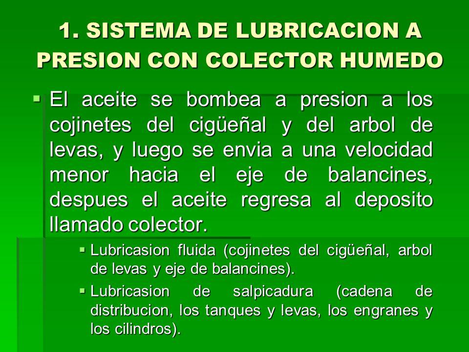 1. SISTEMA DE LUBRICACION A PRESION CON COLECTOR HUMEDO