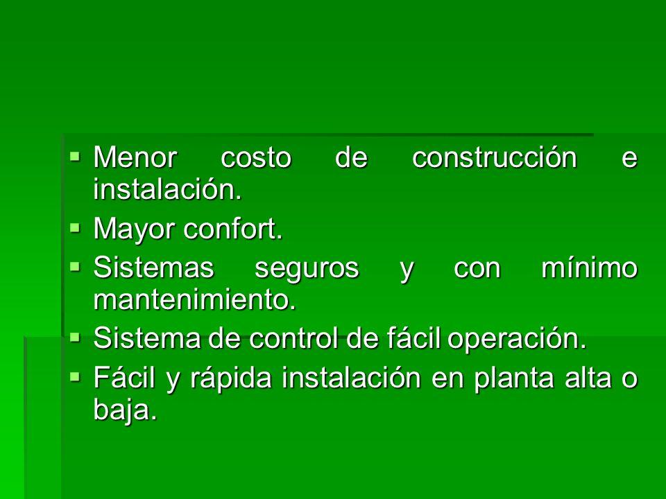 Menor costo de construcción e instalación.