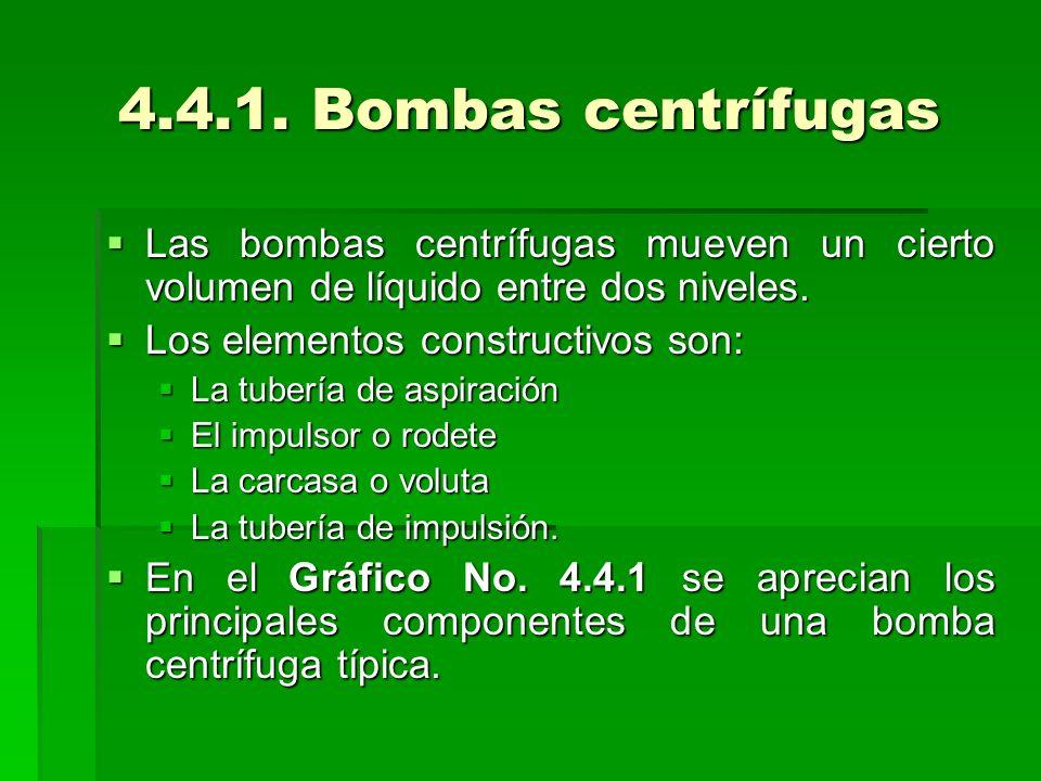 4.4.1. Bombas centrífugas Las bombas centrífugas mueven un cierto volumen de líquido entre dos niveles.