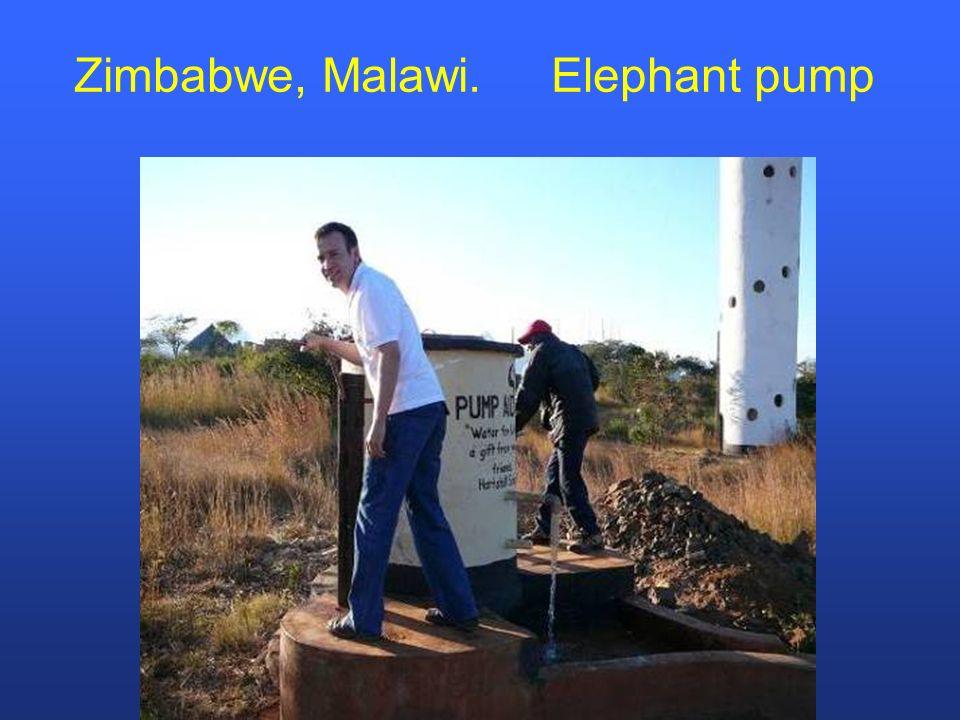 Zimbabwe, Malawi. Elephant pump