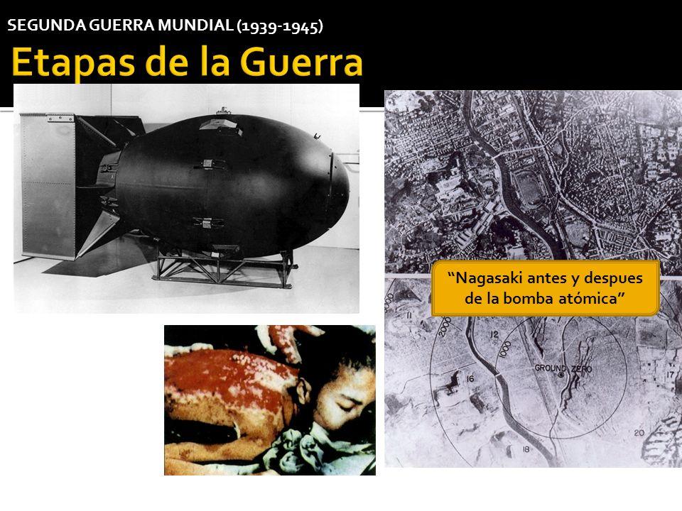 Nagasaki antes y despues de la bomba atómica