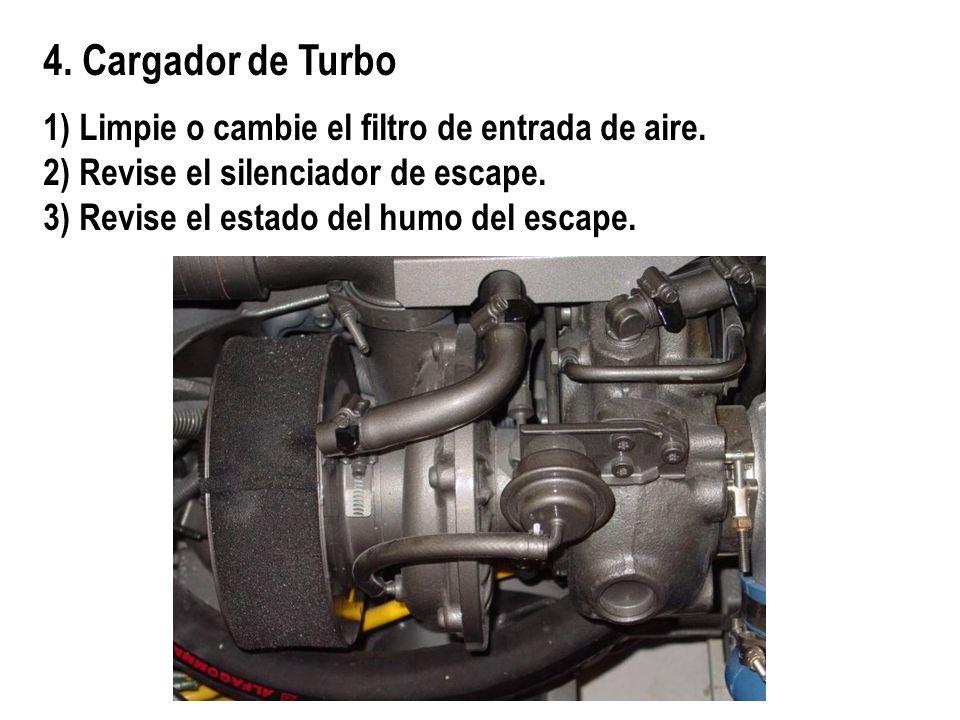 4. Cargador de Turbo 1) Limpie o cambie el filtro de entrada de aire.