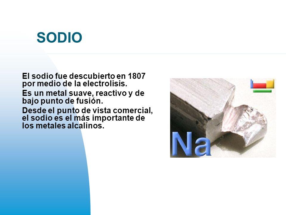 SODIO El sodio fue descubierto en 1807 por medio de la electrolisis.