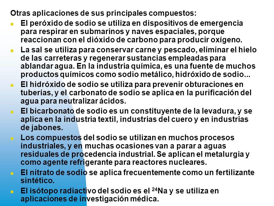 Otras aplicaciones de sus principales compuestos:
