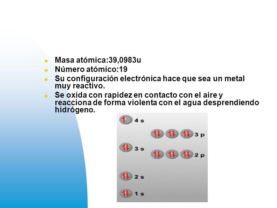 Masa atómica:39,0983u Número atómico:19. Su configuración electrónica hace que sea un metal muy reactivo.