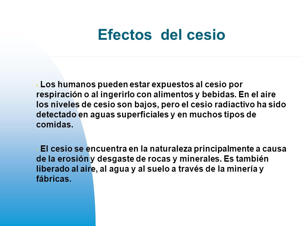 Efectos del cesio