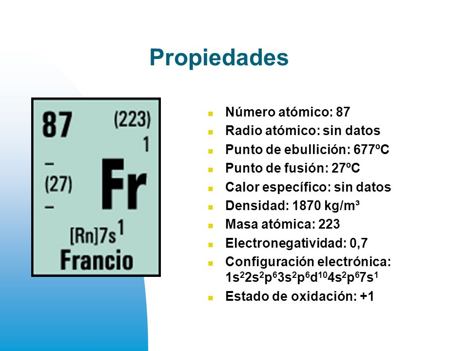 Propiedades Número atómico: 87 Radio atómico: sin datos