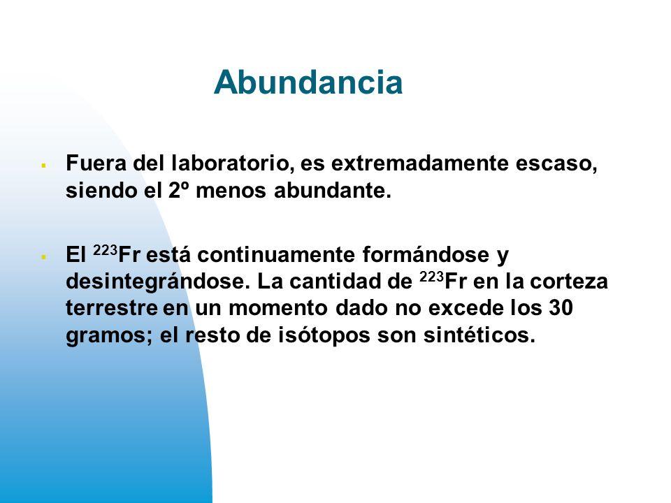 Abundancia Fuera del laboratorio, es extremadamente escaso, siendo el 2º menos abundante.