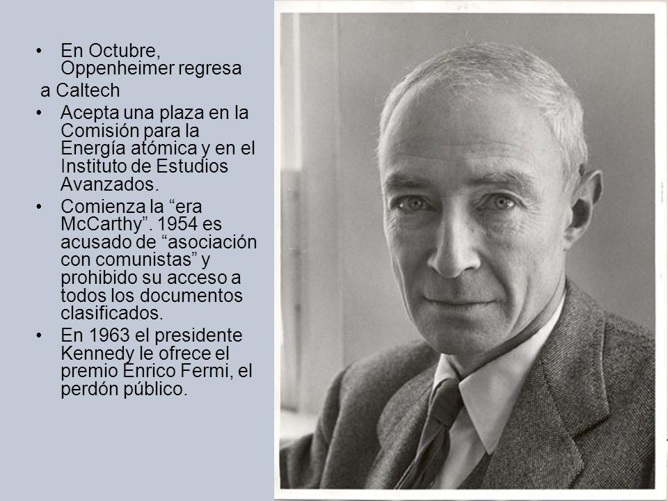 En Octubre, Oppenheimer regresa