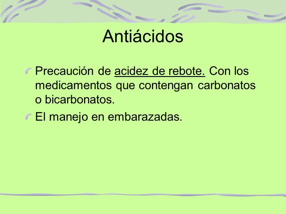 Antiácidos Precaución de acidez de rebote. Con los medicamentos que contengan carbonatos o bicarbonatos.