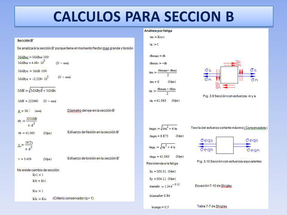 CALCULOS PARA SECCION B