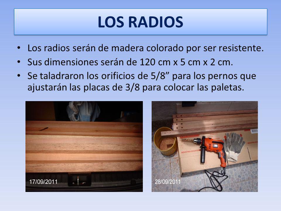 LOS RADIOS Los radios serán de madera colorado por ser resistente.