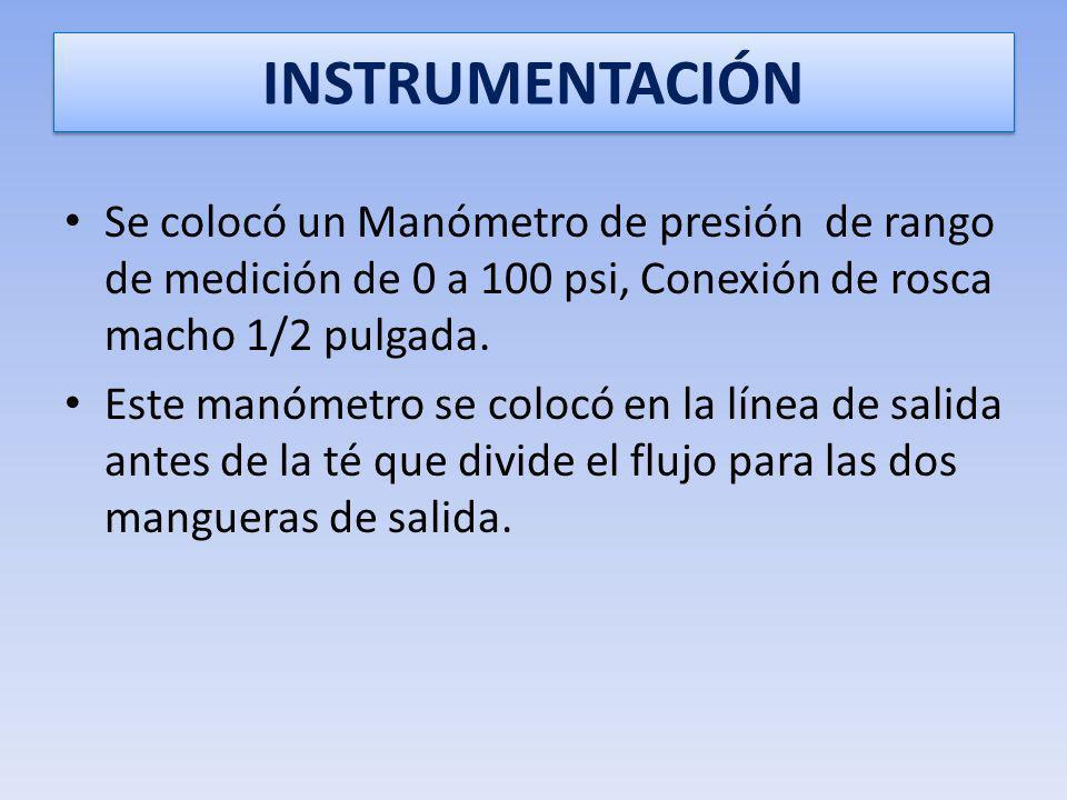 INSTRUMENTACIÓN Se colocó un Manómetro de presión de rango de medición de 0 a 100 psi, Conexión de rosca macho 1/2 pulgada.