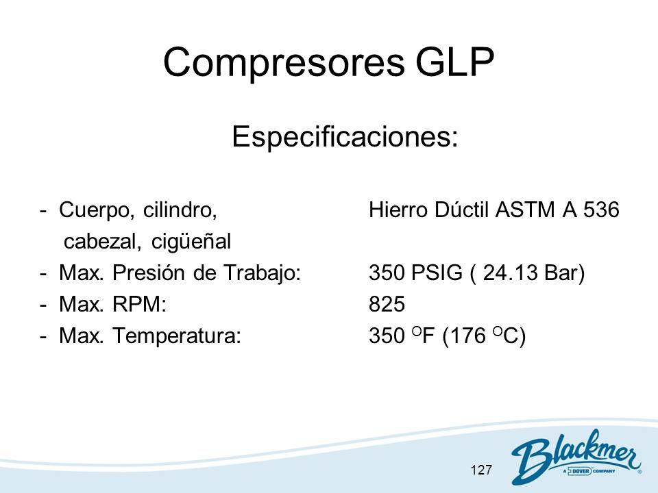 Compresores GLP Especificaciones: