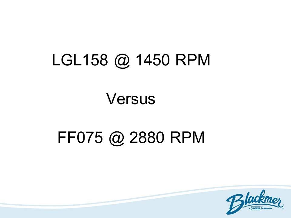 LGL158 @ 1450 RPM Versus FF075 @ 2880 RPM