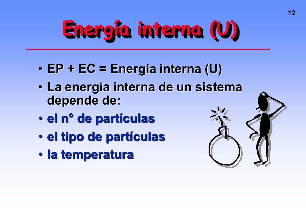 Energía interna (U) EP + EC = Energía interna (U)