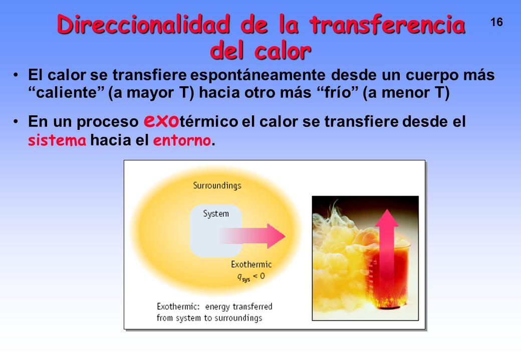 Direccionalidad de la transferencia del calor