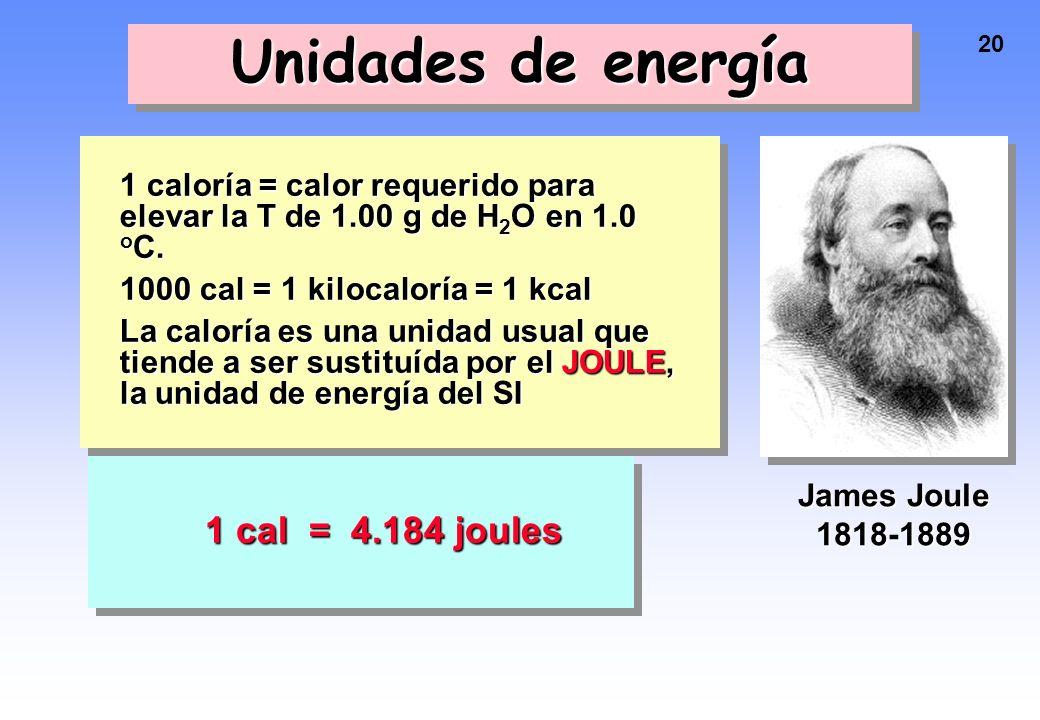 Unidades de energía 1 cal = 4.184 joules