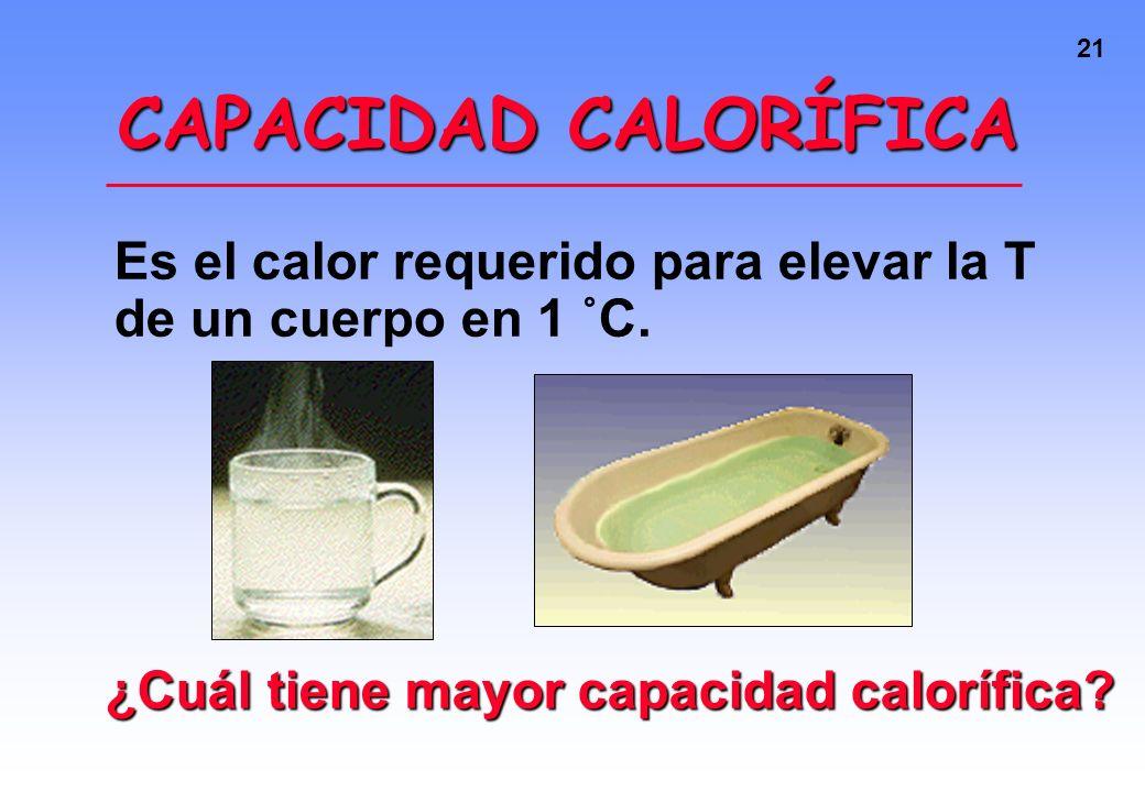 CAPACIDAD CALORÍFICA Es el calor requerido para elevar la T de un cuerpo en 1 ˚C.