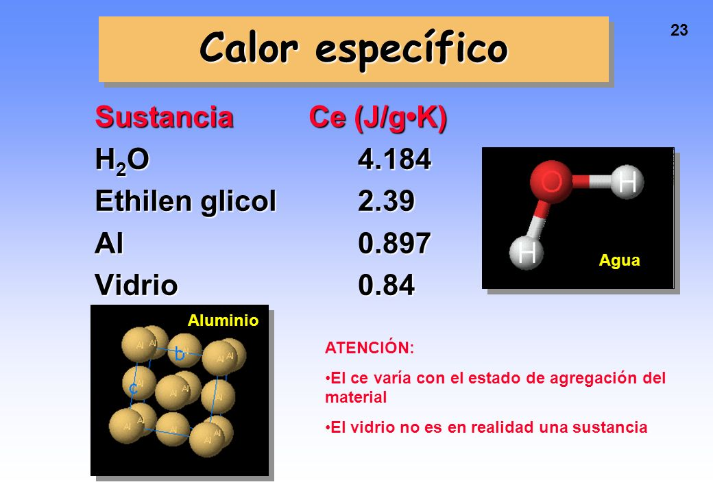 Calor específico Sustancia Ce (J/g•K) H2O 4.184 Ethilen glicol 2.39