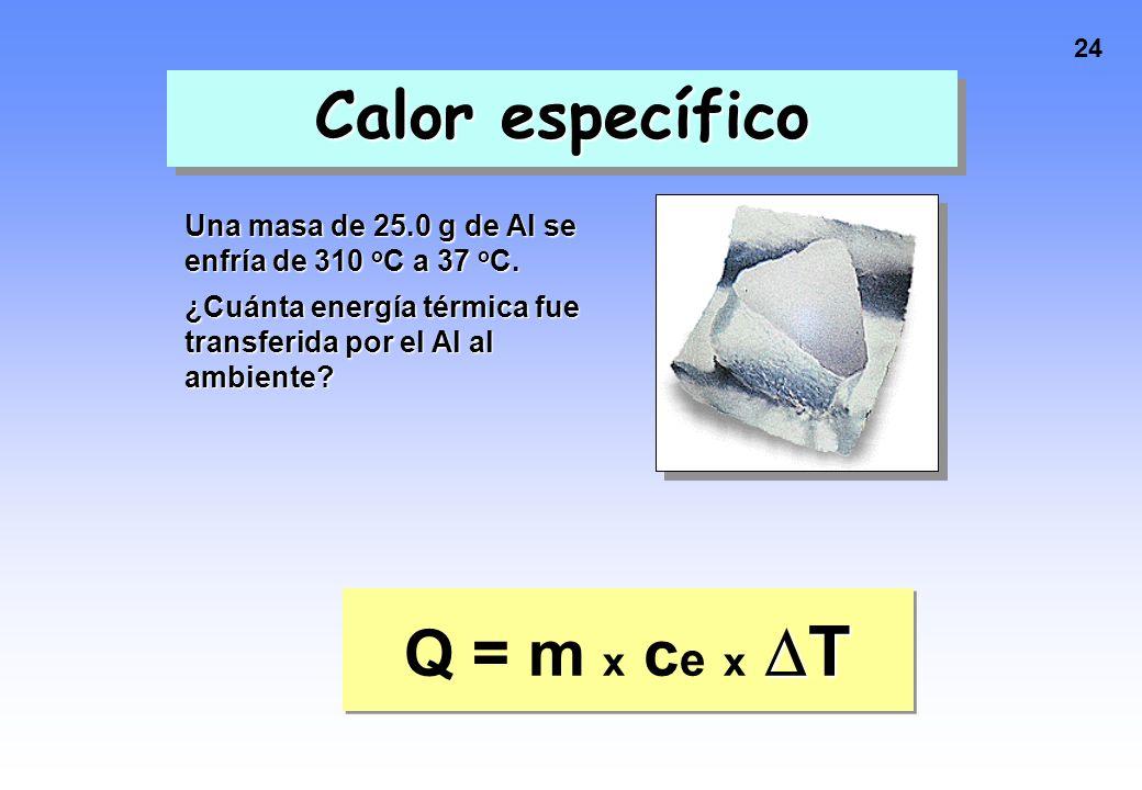 Calor específico Q = m x ce x T