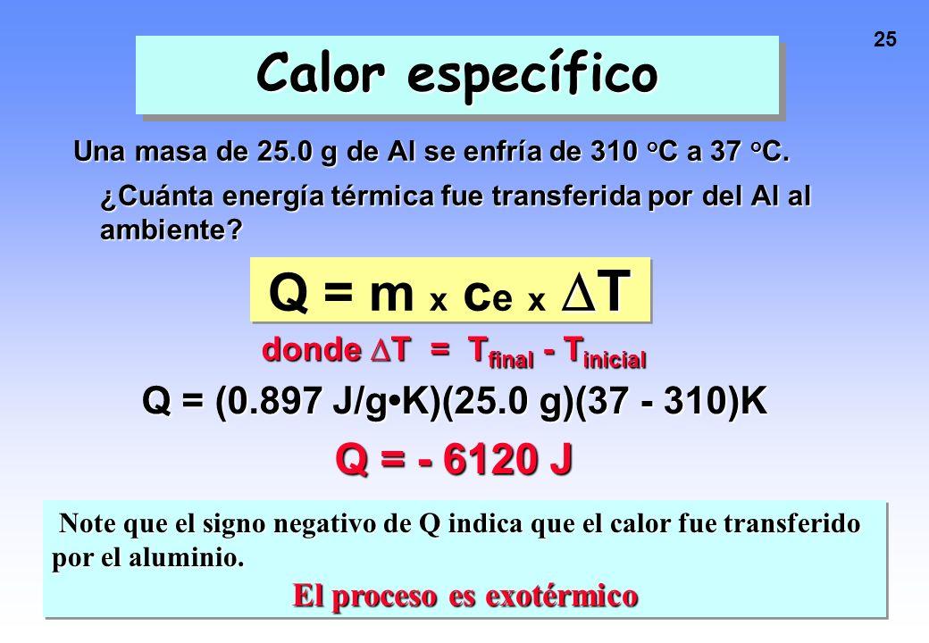 donde ∆T = Tfinal - Tinicial El proceso es exotérmico