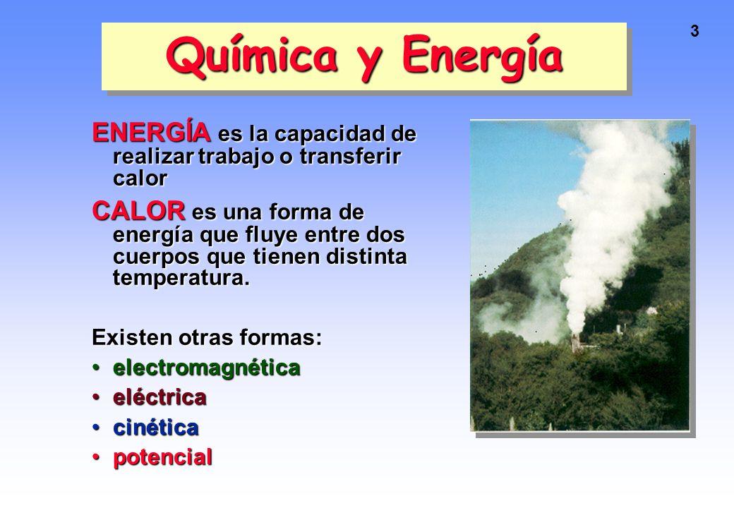 Química y Energía ENERGÍA es la capacidad de realizar trabajo o transferir calor.