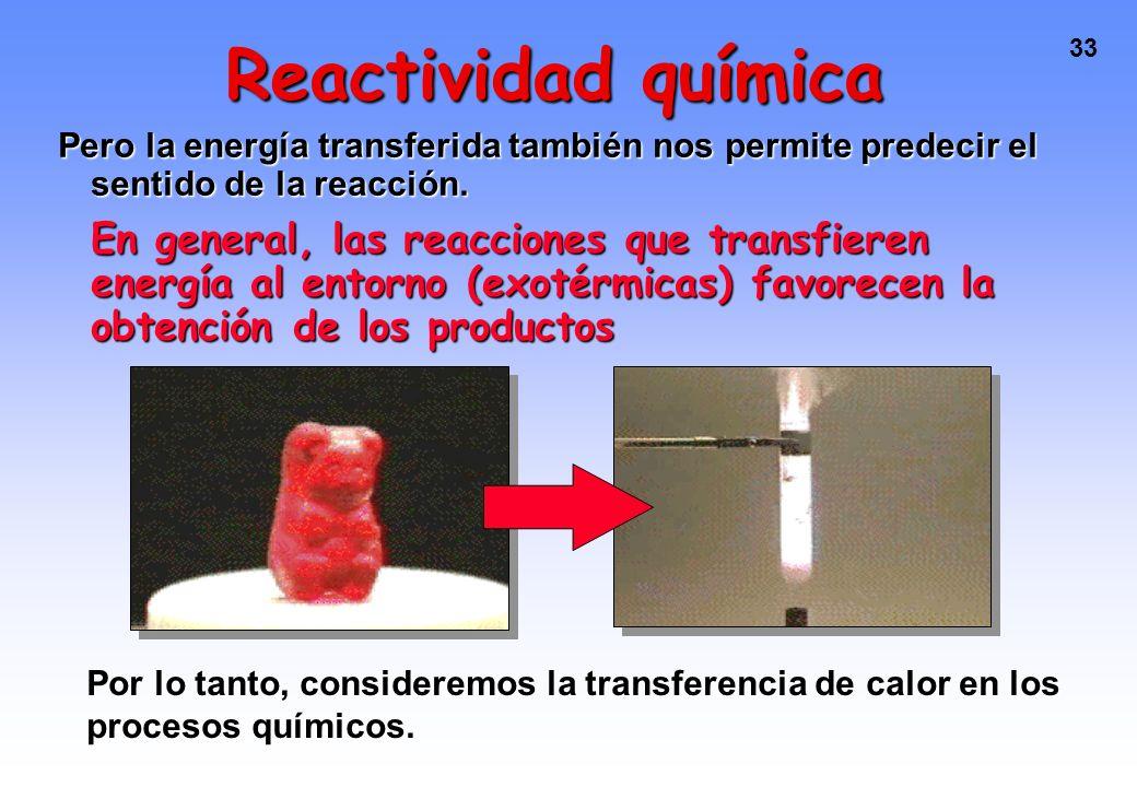 Reactividad química Pero la energía transferida también nos permite predecir el sentido de la reacción.