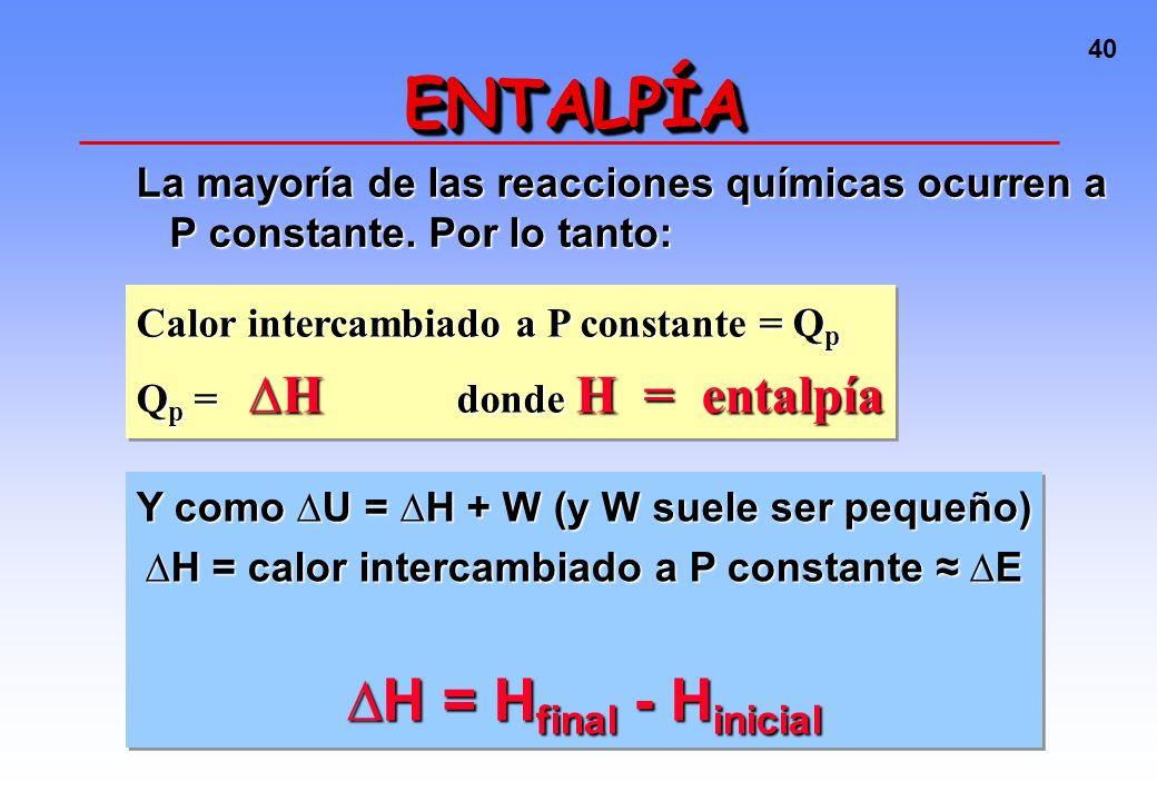 ENTALPÍA ∆H = Hfinal - Hinicial