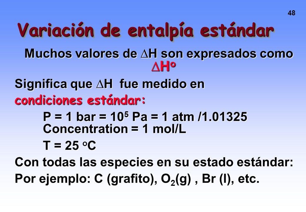 Variación de entalpía estándar