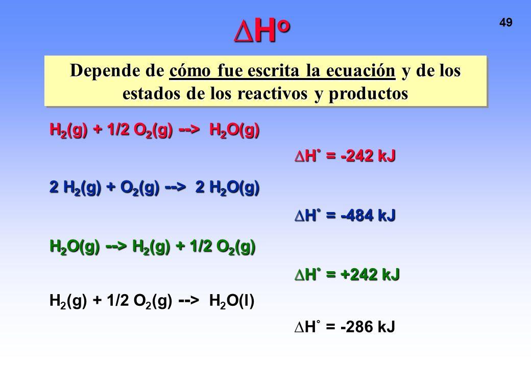 ∆Ho Depende de cómo fue escrita la ecuación y de los estados de los reactivos y productos. H2(g) + 1/2 O2(g) --> H2O(g)
