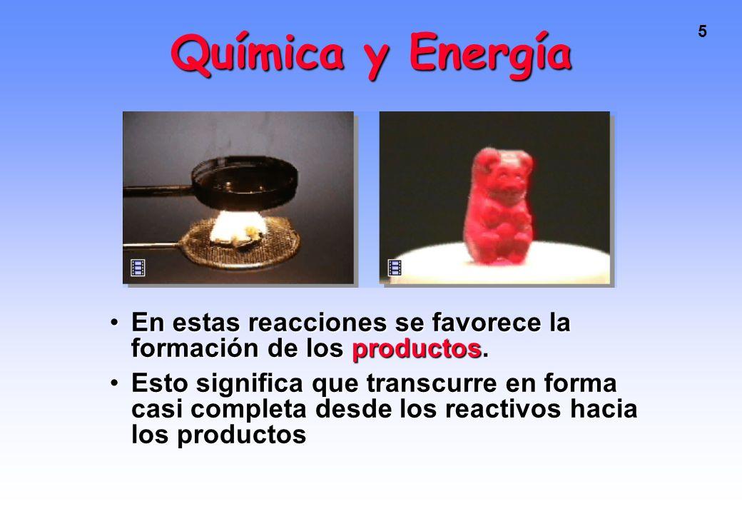 Química y Energía En estas reacciones se favorece la formación de los productos.
