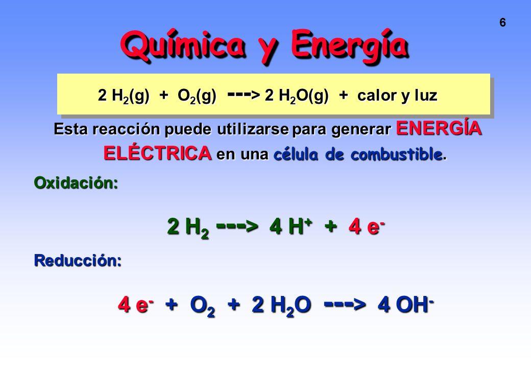 2 H2(g) + O2(g) ---> 2 H2O(g) + calor y luz