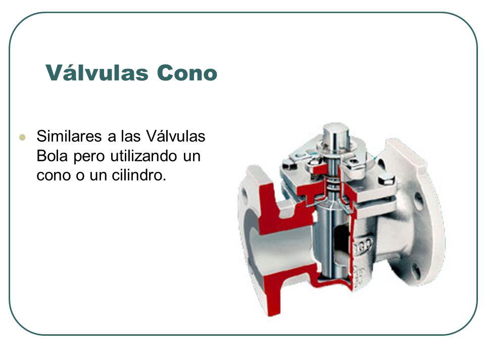 Válvulas Cono Similares a las Válvulas Bola pero utilizando un cono o un cilindro.