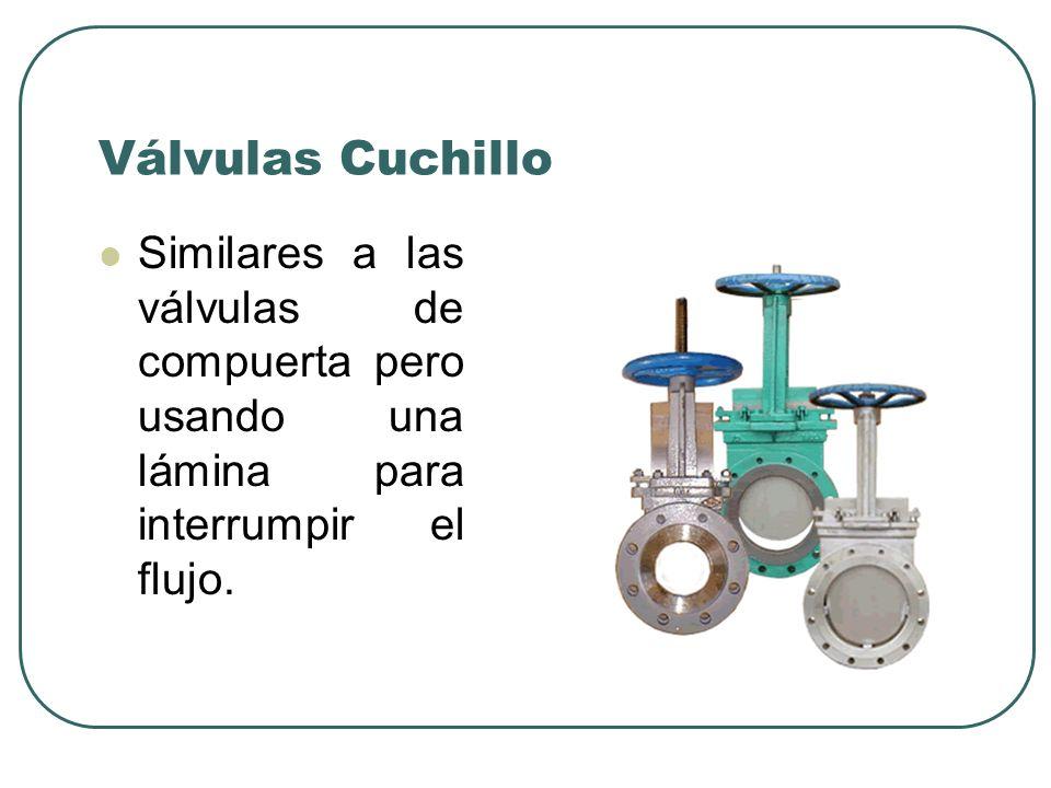 Válvulas Cuchillo Similares a las válvulas de compuerta pero usando una lámina para interrumpir el flujo.
