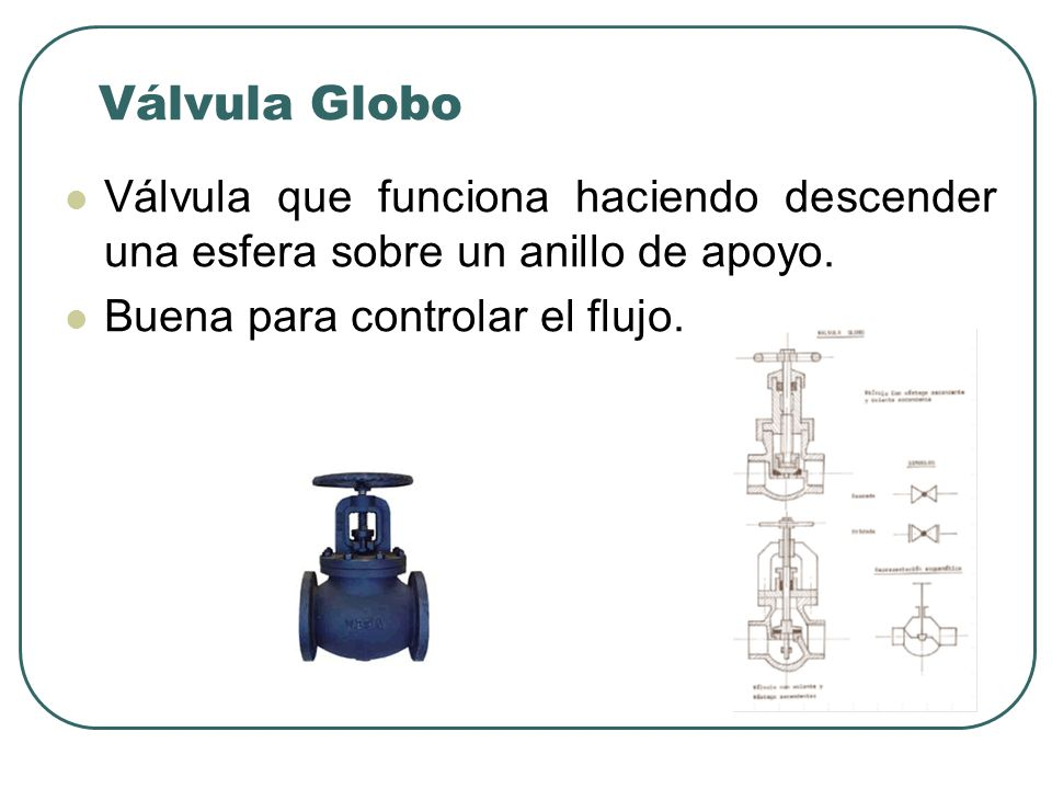 Válvula Globo Válvula que funciona haciendo descender una esfera sobre un anillo de apoyo.