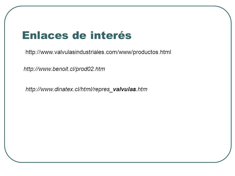 Enlaces de interés http://www.valvulasindustriales.com/www/productos.html. http://www.benoit.cl/prod02.htm.