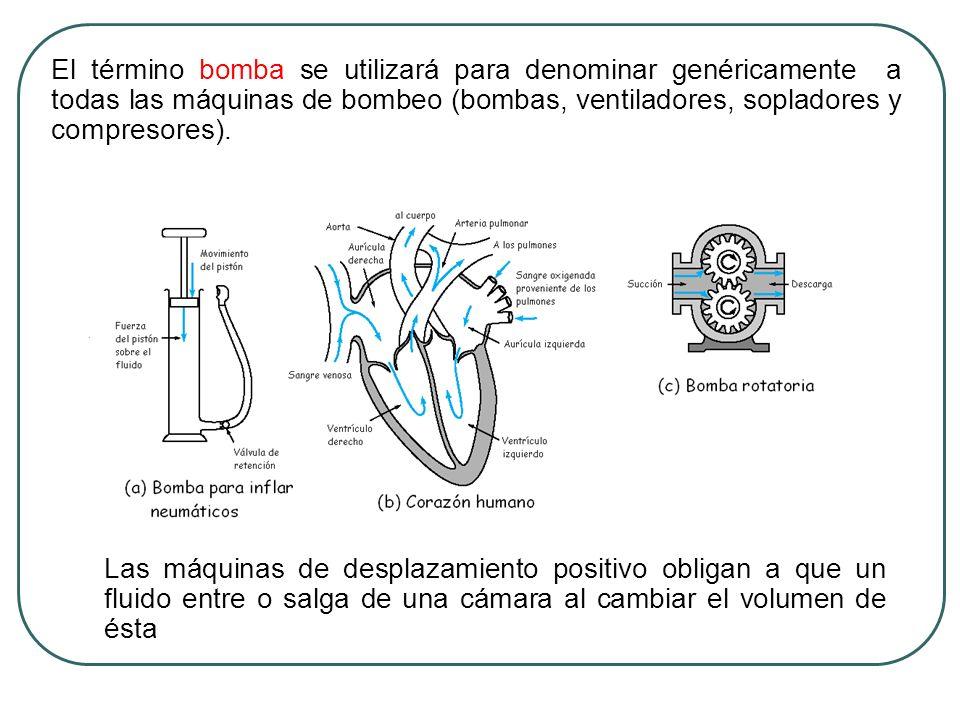 El término bomba se utilizará para denominar genéricamente a todas las máquinas de bombeo (bombas, ventiladores, sopladores y compresores).