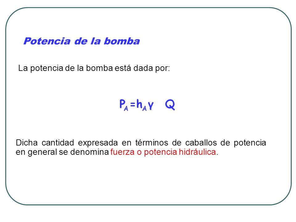 Potencia de la bomba La potencia de la bomba está dada por: