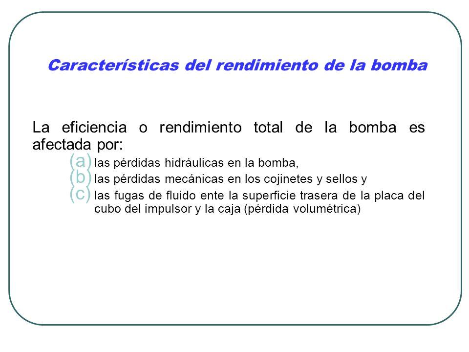Características del rendimiento de la bomba