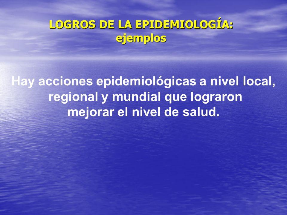 LOGROS DE LA EPIDEMIOLOGÍA: ejemplos