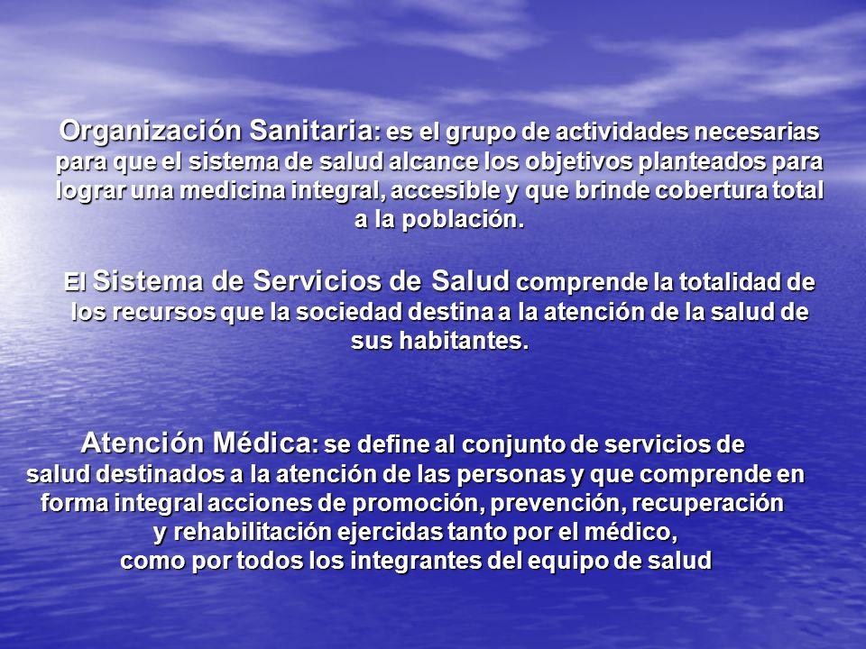 Atención Médica: se define al conjunto de servicios de