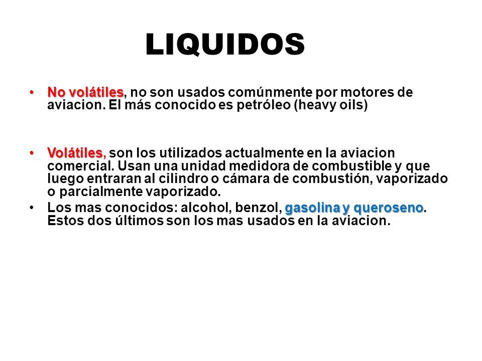 LIQUIDOS No volátiles, no son usados comúnmente por motores de aviacion. El más conocido es petróleo (heavy oils)
