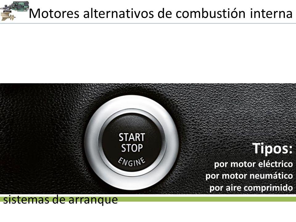 Tipos: Motores alternativos de combustión interna sistemas de arranque