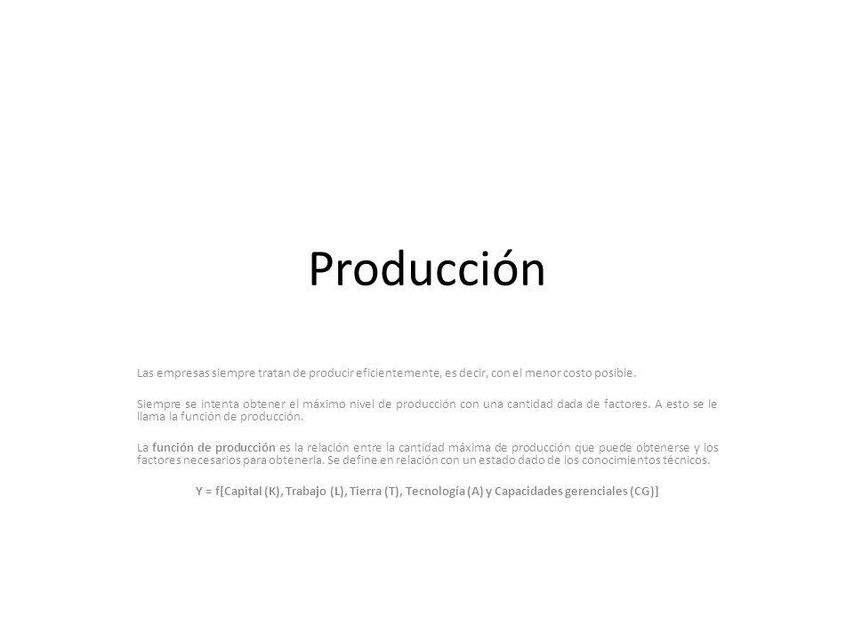 Producción Las empresas siempre tratan de producir eficientemente, es decir, con el menor costo posible.