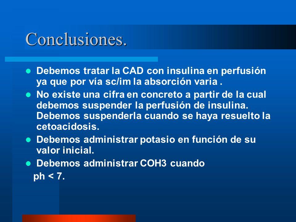Conclusiones. Debemos tratar la CAD con insulina en perfusión ya que por vía sc/im la absorción varia .