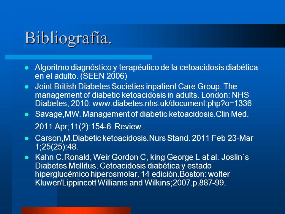 Bibliografía. Algoritmo diagnóstico y terapéutico de la cetoacidosis diabética en el adulto. (SEEN 2006)