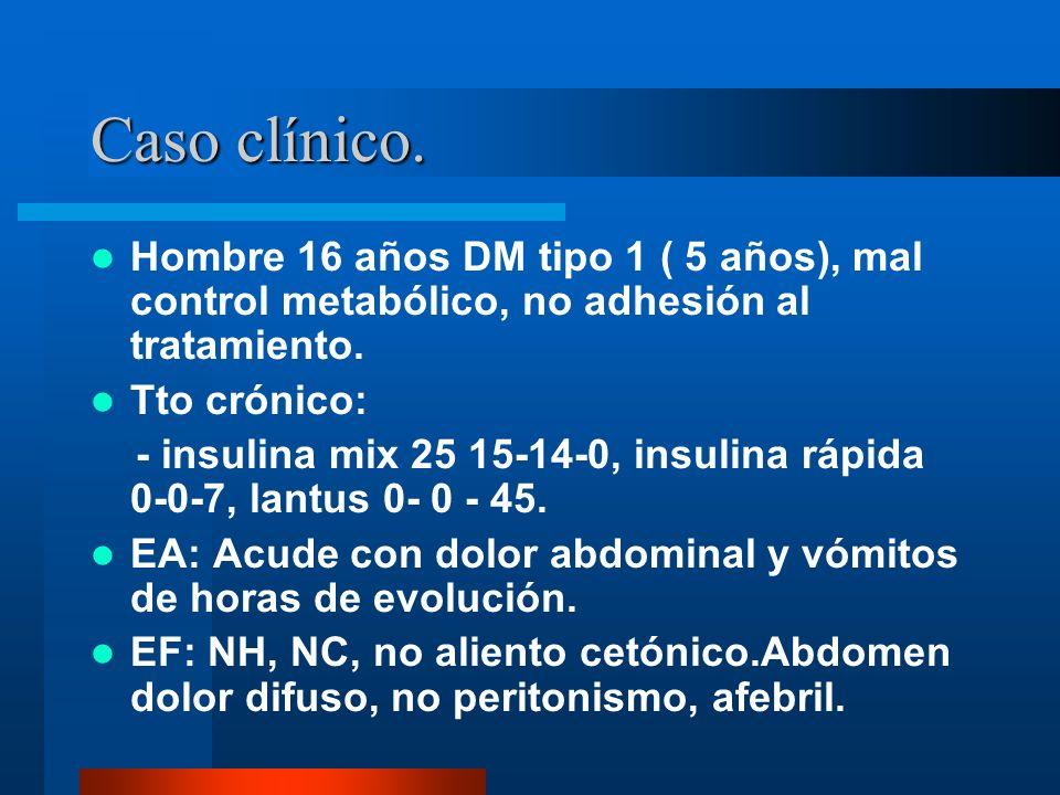 Caso clínico. Hombre 16 años DM tipo 1 ( 5 años), mal control metabólico, no adhesión al tratamiento.