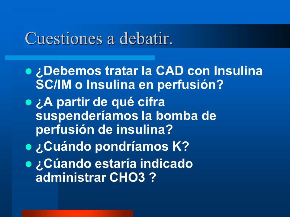 Cuestiones a debatir. ¿Debemos tratar la CAD con Insulina SC/IM o Insulina en perfusión